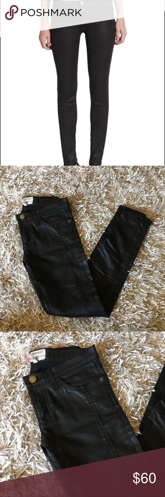 NEW! Current/Elliott Coated Leather Skinny Jeans NEW NEVER WORN- Current/Elliott The Sweeney Ankle Skinny, low waist, gold accents Current/Elliott Jeans Skinny