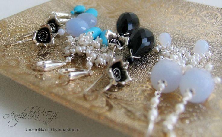 Купить Голубой Халцедон СЕРЬГИ серебряные РОЗЫ. Натуральные камни Серебро 925 - купить серьги