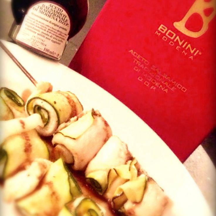 Spiedini di zucchine e sogliole #balsamico #spiedini
