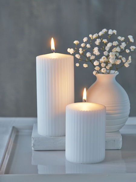 These textural White pillar candles are set to become a firm favourite.