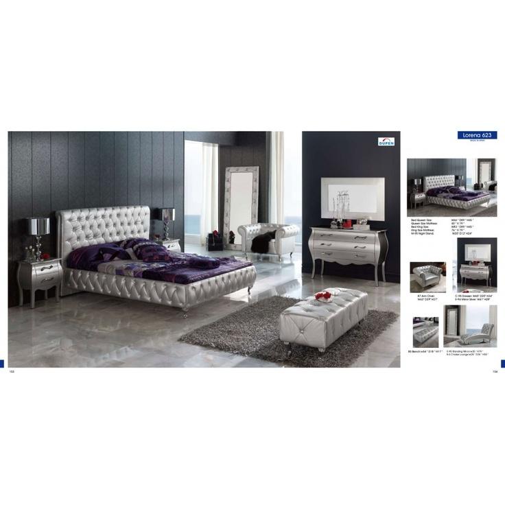 Lorena 4 Pcs Modern Silver Bedroom Set Bed Dresser Mirror