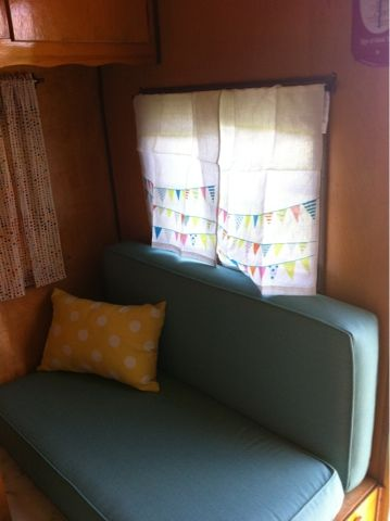 Crazy Vintage Camper Bug: Frolic Travel Trailer: CURTAINS!
