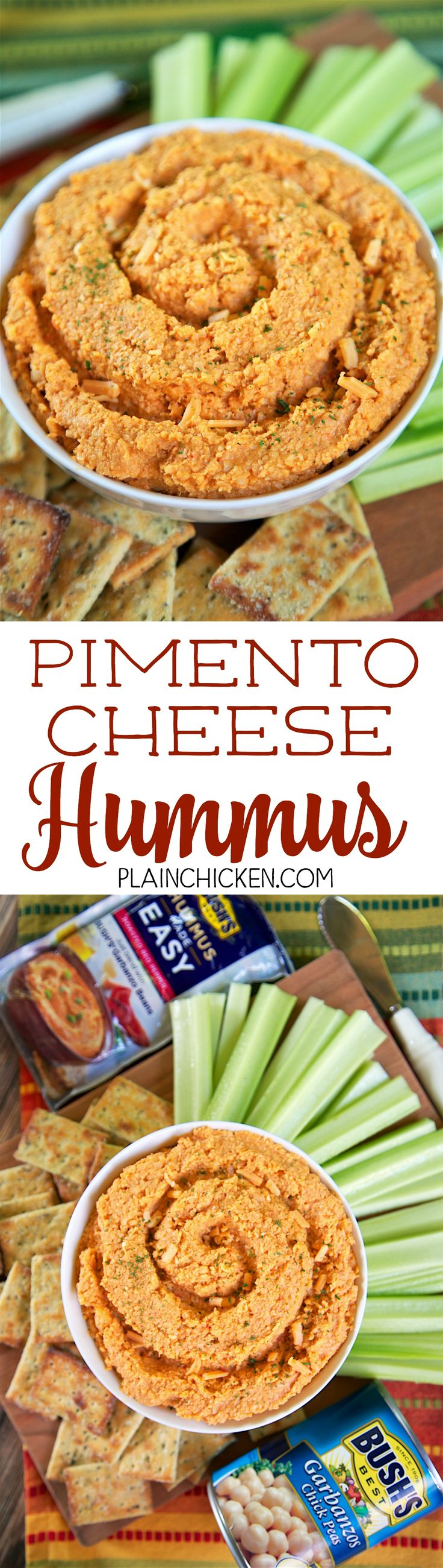 3-Ingredient Pimento Cheese Hummus - Bush's Garbanzo beans, Bush's Roasted Red Pepper Hummus Made Easy and cheddar cheese. Ridiculously easy and crazy delicious! Ready in about a minute! Whip this up when you need a last minute snack. Great for parties and tailgates!!