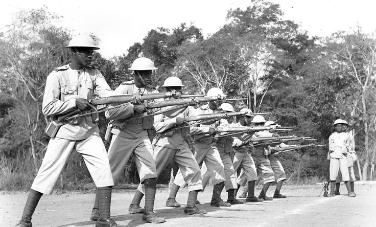 Ghanaian members of the 81st (West Africa) Division infantryservingas part oftheBritish Fourteenth Armypractice maneuvers during the Burma Campaign against Imperial Japanese forces. The division took part in the successful third campaign to oust the Japanese from the Burmese province of Arakan in December 1944.