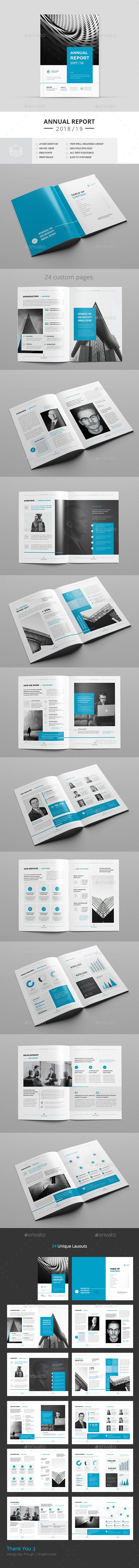 Annual Report Brochure Template InDesign INDD - 24 Custom Pages