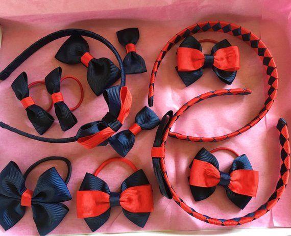 Handmade Girls  School Hair Bow Bobbles  Burgundy  Korker Sold In Pairs
