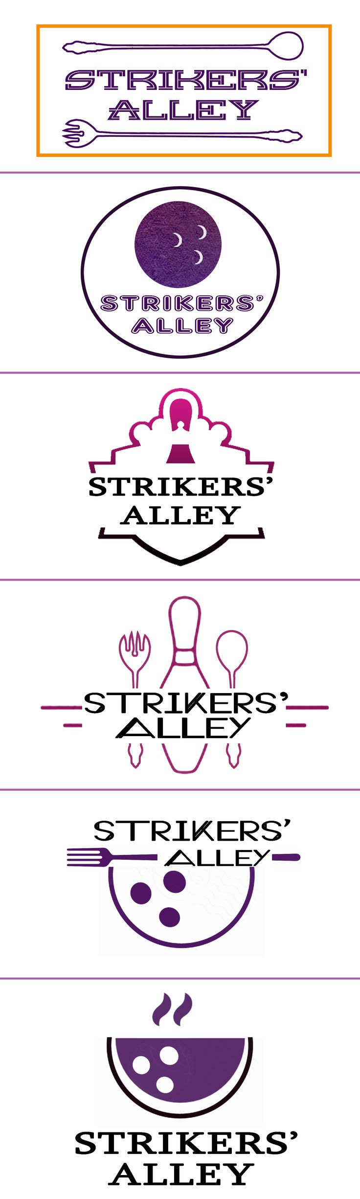 "Logo Design of ""Striker Alley"" A cafe featuring bowling concept"