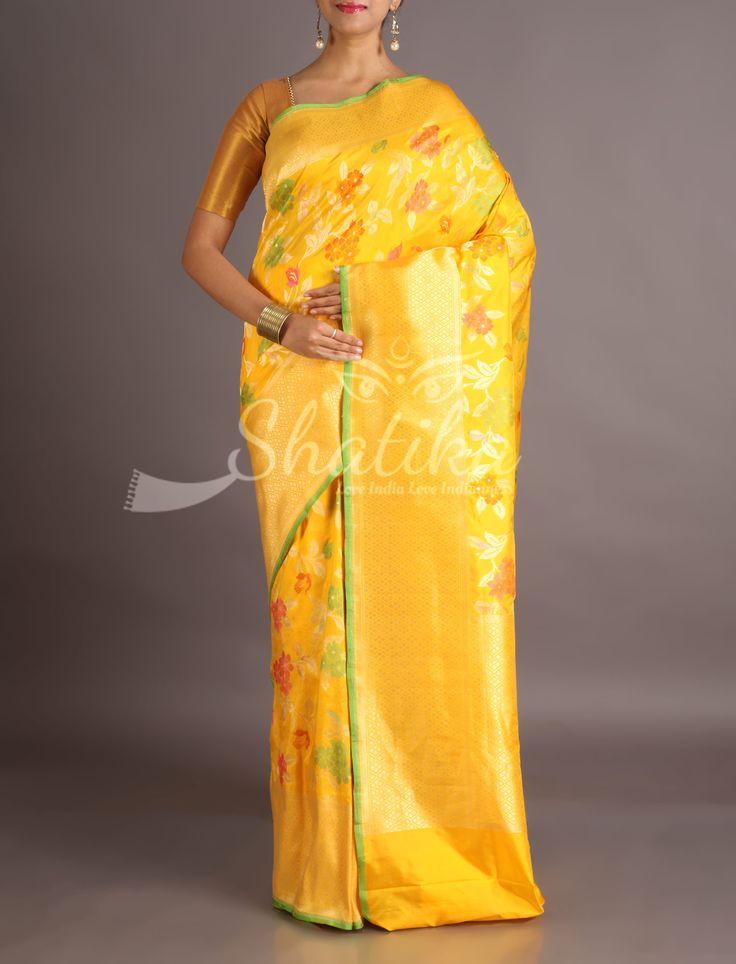 Surabhi Luscious Yellow Full Bloom In Silver And Color Banarasi Brocade Silk Saree