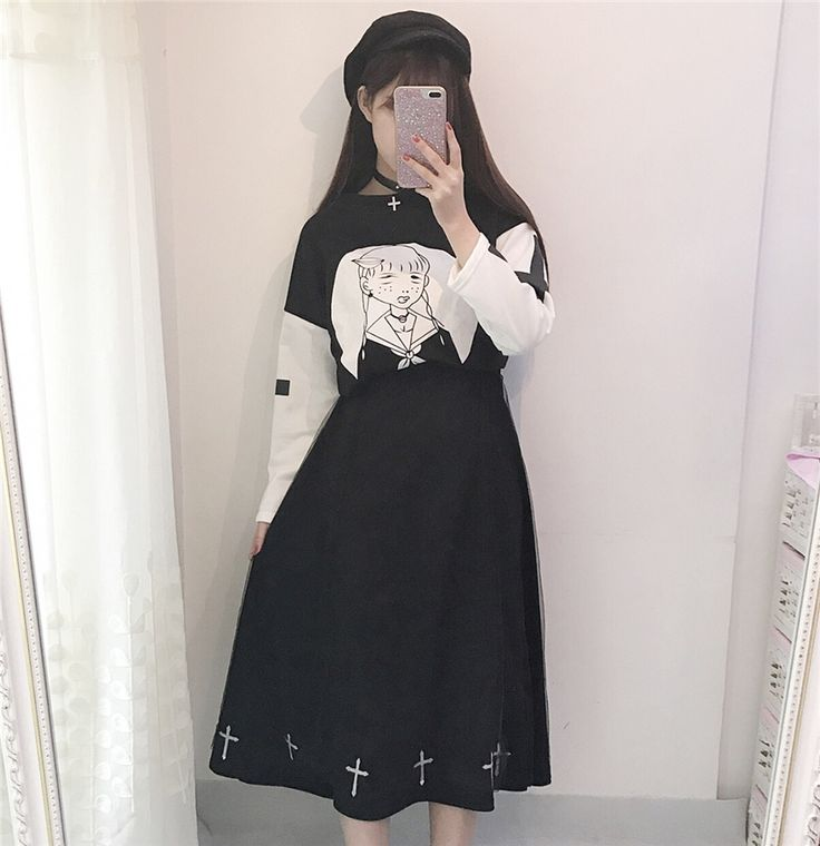 Harajuku Black White Cross Shirt Suit Net A-Line Skirt MG382 - Thumbnail 4