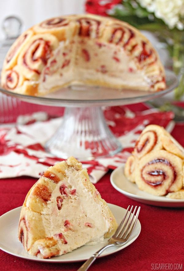 Cream Filled Swiss Jelly Roll Cake via SugarHero.com