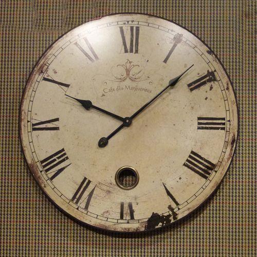Large cream shabby chic wall clock