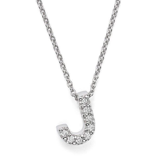 Roberto Coin 18K White Gold Initial Love Letter Pendant Necklace with... ($615) ❤ liked on Polyvore featuring jewelry, necklaces, 18k necklace, initial pendant necklaces, 18 karat gold necklace, diamond jewelry and pendant necklace