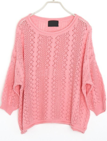 Pink Hollow Embroidery Batwing Cotton Sweater