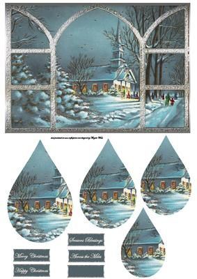 Going to church with friends the view through my window on Craftsuprint designed by Angela Wake - Going to church with friends, the view through my window, with a teardrop pyramid and sentiment tags - Now available for download!