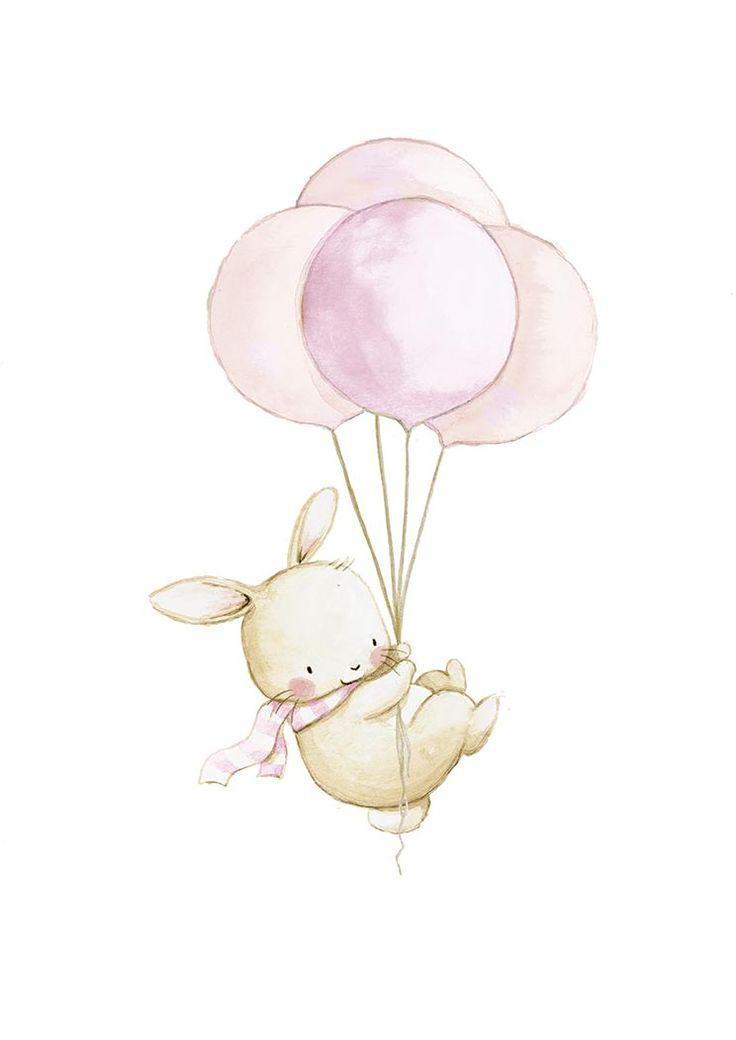Ilustracion infantil conejo globos rosa