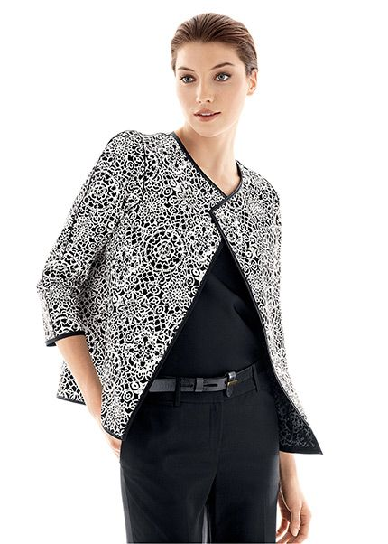Lafayette148_Outfits_Batik Lace Cotton Print Venus Topper and Metropolitan  Stretch Perry Pant