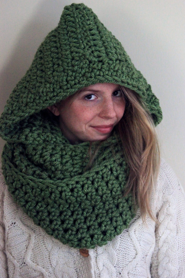 Knitting Pattern Infinity Scarf Hood : Crocheted Infinity Scarf with Hood