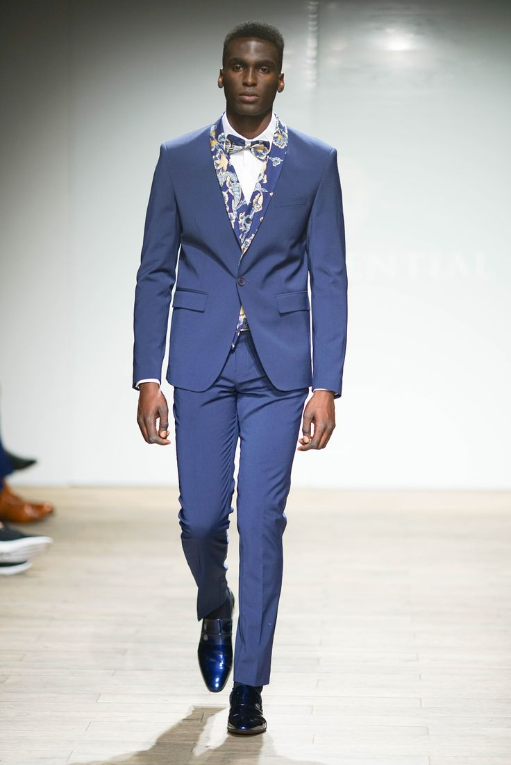 Wool blend blazer with hand-painted fabric contrast shoal collar with matched printed waistcoat worn with a pleated cotton collar dress shirt and wool blend pants complemented with a matched printed bowtie. #SAFW #SAFWmen #SAFAW17 #PresidentialSAFW #AfricanHauteCouture #HeritageMonth #MadInSA