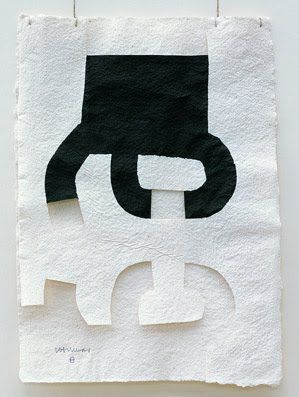 "Chillida' works on paper. ""He drew with ink on Mexican bark paper, sometimes layers of paper, sometimes with cut-outs and he presented his drawings, called Gravitaciónes, suspended on threads."""