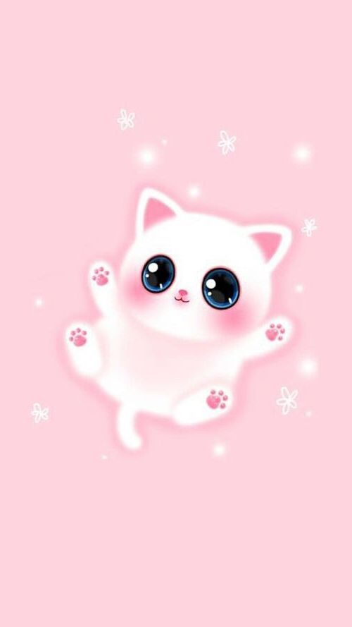 Kawaii Pink Cat Wallpaper