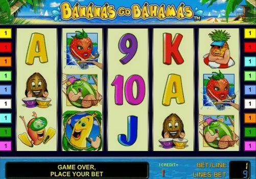 Игровой автомат Bananas go Bahamas с выводом реальных денег. Разработчик онлайн слотов Novomatic порадовал любителей азартных развлечений стильным игровым автоматом на фруктовую тематику - Bananas go Bahamas (Бананы едут на Багамы). Милая клубника, веселый банан, разнеженный арбуз