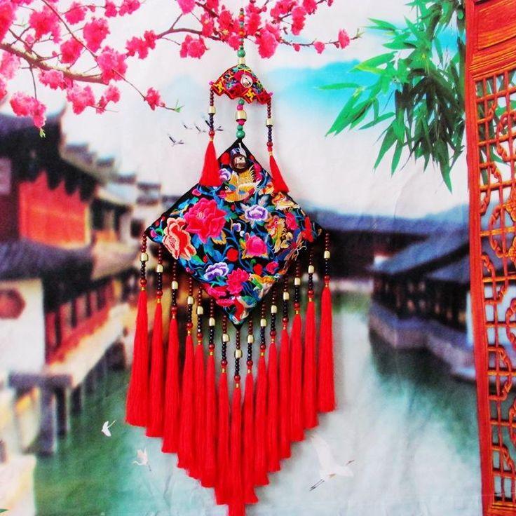 chinesische ethnische gestickte haushalts hängedeko big size wohnkultur tassel wandteppiche hochzeit hangings tuch