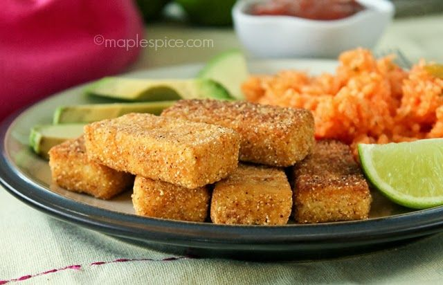 Crispy chili cornmeal crusted tofu great on their own or for Cornmeal fried fish