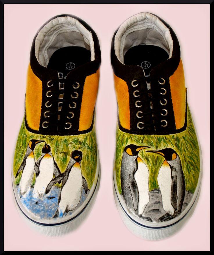 Zapatillas pintadas a mano: Mi amigo el pingüino