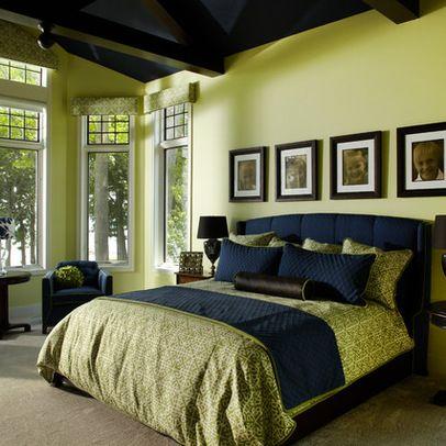 Navy And Green Bedroom Green Walls Beige Floor Navy
