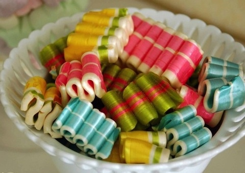 Ribbon candy from grandma's milk glass candy bowl