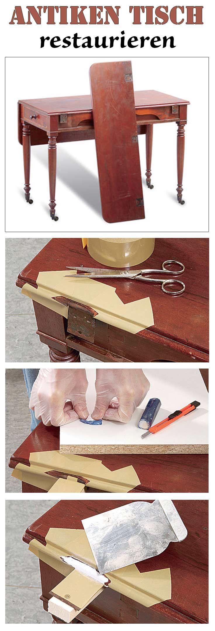 Restaurieren for Beginner: Wir zeigen, wie man ausgebrochene Holzstücke ergänzt und Scharniere an einem antiken Tisch repariert.