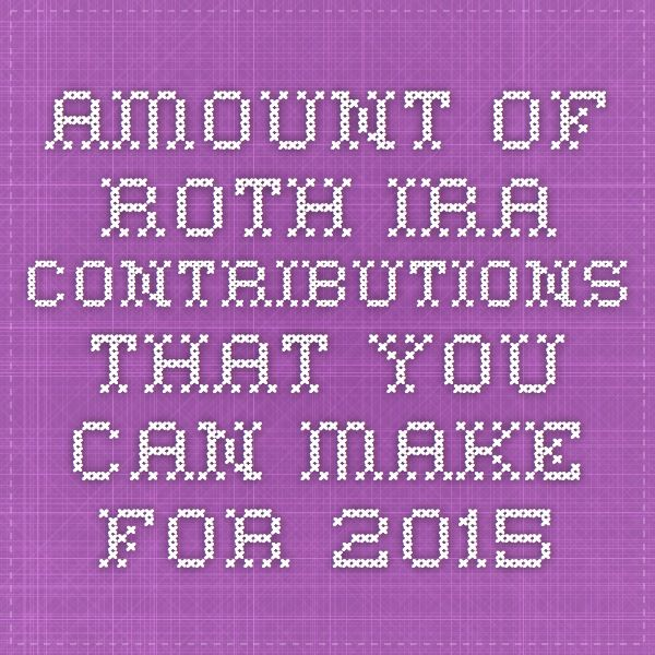 Amount of Roth IRA Contributions That You Can Make For 2015  For 2015, your total contributions to all of your traditional and Roth IRAs cannot be more than: $5,500