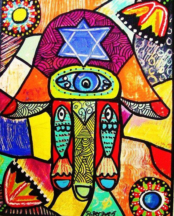 Hamsa Good Luck Tapestry: Silberzweig Art, Chamsa Chamsa, Red Tapastry, Jewish Artwork, Hamsot Images, Hamsa Print Sandra Silberzweig, Tapastry Hamsa Print Sandra, Evil Eye