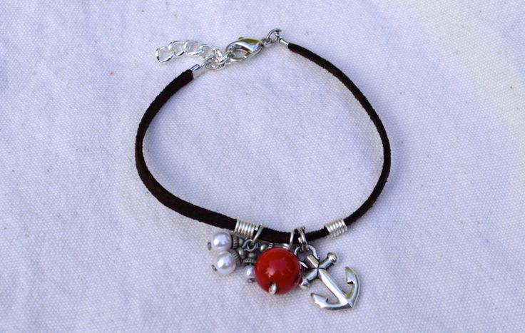 Soft+Suede+Bracelet+Made+With+Pearls+and+Red+Coral+by+KEYZandMore,+$16.50