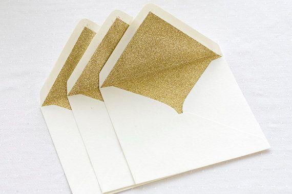 Gold glitter lined envelopes - Sparkly gold envelopes for weddings, birthdays, Christmas or Golden wedding anniversary