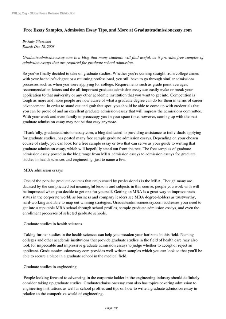 admission essay examples for graduate school