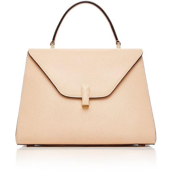 Valextra Iside Large Leather Bag (40.301.530 IDR) ❤ liked on Polyvore featuring bags, handbags, shoulder bags, pink, mini handbags, leather handbags, real leather purses, beige shoulder bag and beige handbags