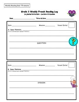 FREEBIE - Reading Log - Questions, Opinions, Connections - French Immersion - Irene Priest - TeachersPayTeachers.com