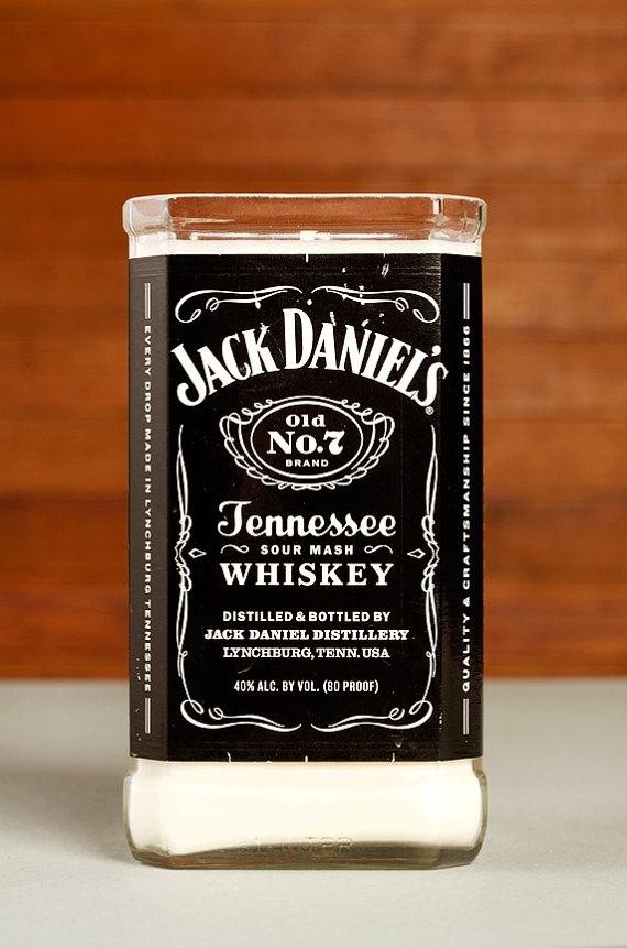My awesome friend Michelle and her hubby make these! Bourbon Soy #Candle - Cedarwood Vanilla scent in repurposed #Jack_Daniel's bottle by ReuseFirst, $28.00