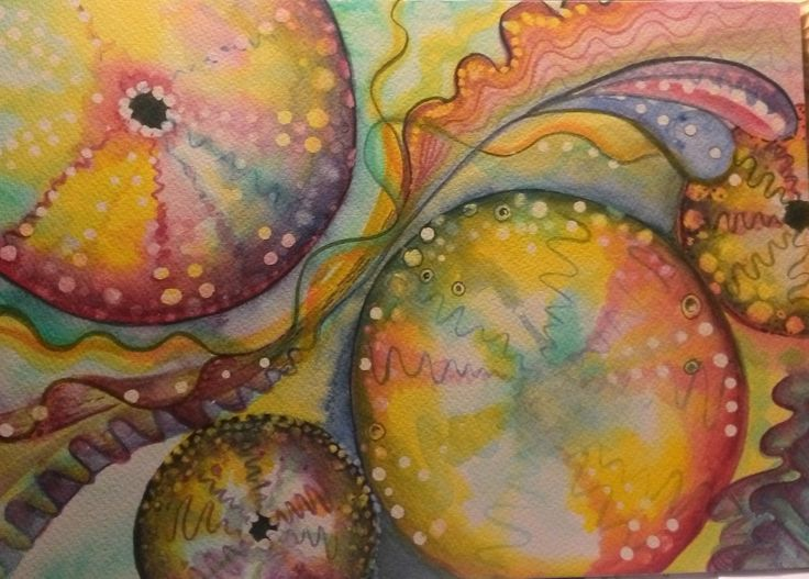 a new watercolour experiment, sea urchins by me , Annette Mansfield check out more on facebook  https://m.facebook.com/RedWingsandPaperlace