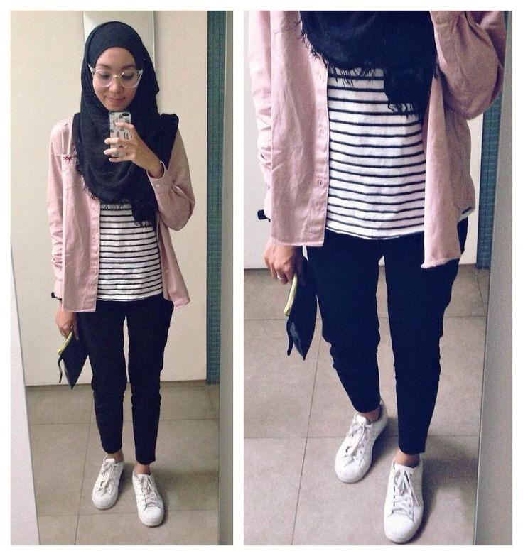 Syaifiena W lookbook.nu/syaifiena  ootd. casual hijab outfit  Shirt, stripe shirt, pants, white sneakers, adidas superstar, pashmina, minimalist, minimal