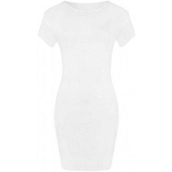 Luella Bodycon T-Shirt Dress ($14) ❤ liked on Polyvore featuring dresses, white body con dress, bodycon dress, basic white t shirt, white tshirt dress and scoop neck dress