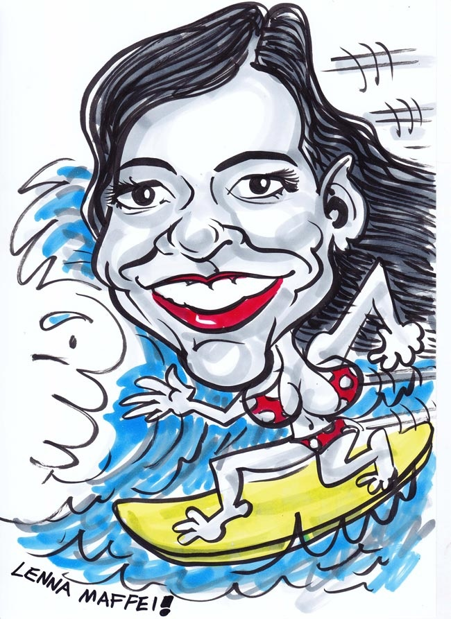 A typical caricature at party - with full body and hobby