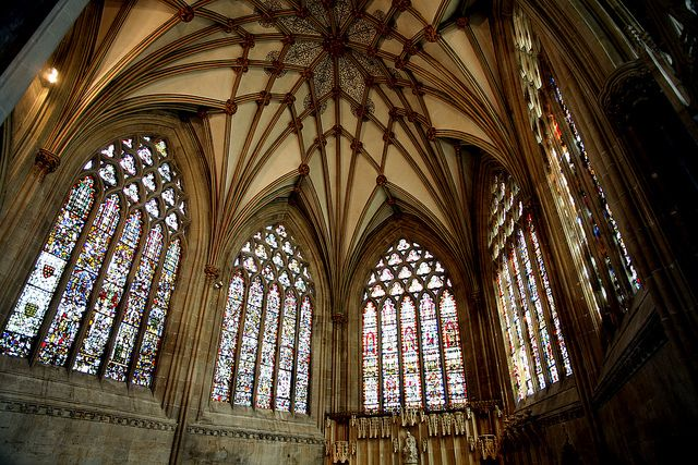 "Wells Cathedral ""The Ladys Chapel"" (photo by the other Bailey, via Flickr) 14th century stained glass"