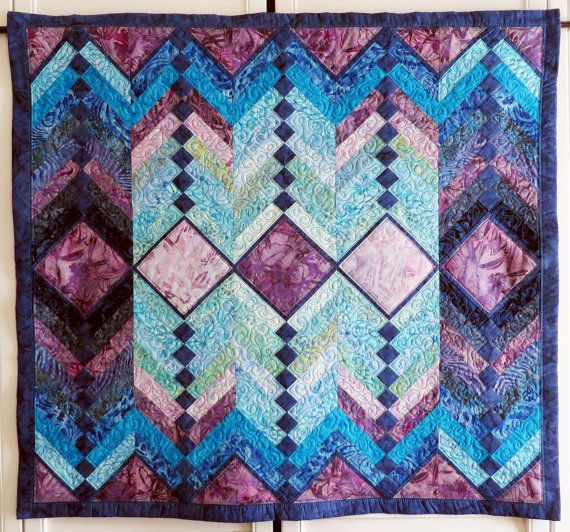 French Braid Quilted Batik Wall Hanging by Quiltsbysuewaldrep