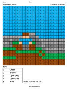 Minecraft Scene color by number Free Worksheet | Coloring ...