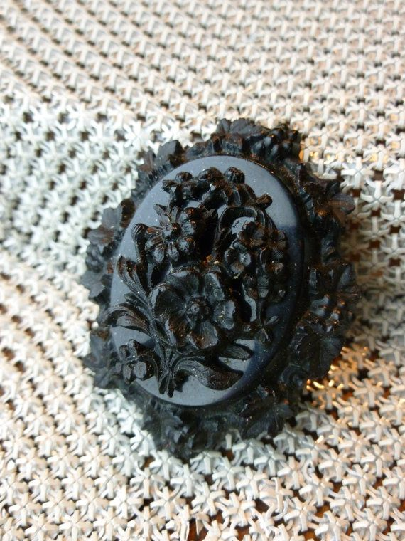 1800s Antique Gutta Percha Mourning Flower Cameo by TreasuredTinks, $225.00