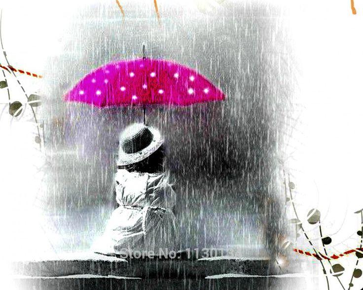 Летний дождь маленькая девочка рукоделие сделай сам алмаз комплект живопись алмазный вышивки крестом растения вышивка живопись EL451