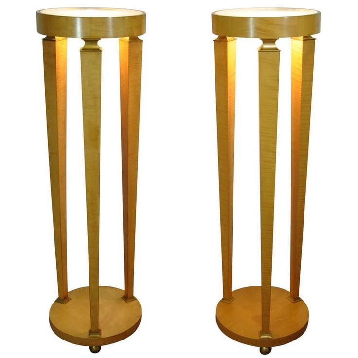 Pair of Biedermeier Style Bronze Mounted Lighted Column Pedestal Stand Tables   From a unique collection of antique and modern pedestals at https://www.1stdibs.com/furniture/tables/pedestals/