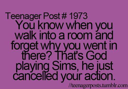 Teenager Post... God Playing Sims